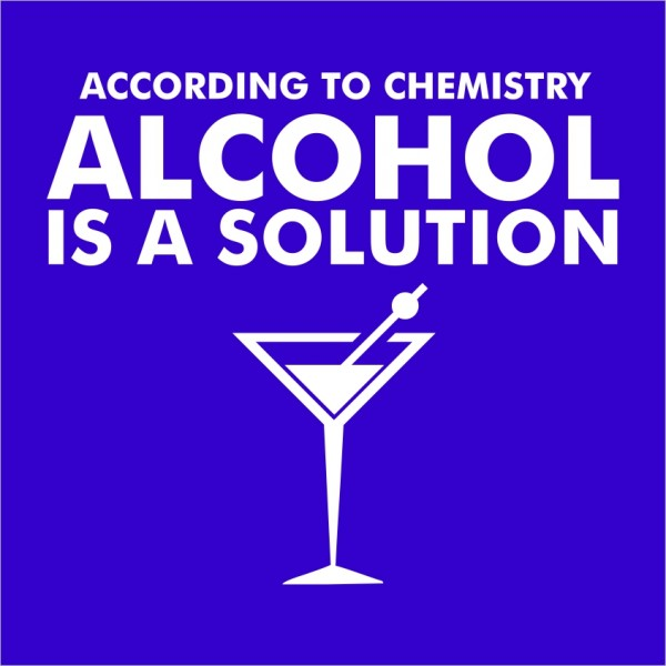 Alcohol is a solution Close up