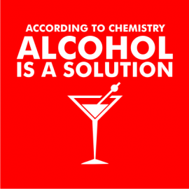 Alcohol is a solution red