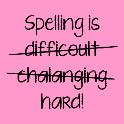 spelling is light pink
