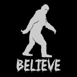 believe in bigfoot halloween t-shirt black