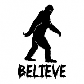 believe in bigfoot halloween t-shirt white