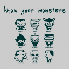 know your monsters halloween t-shirt grey