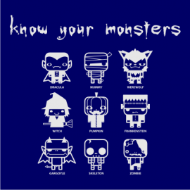 know your monsters halloween t-shirt navy