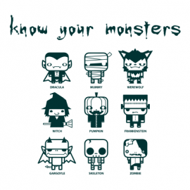 know your monsters halloween t-shirt white
