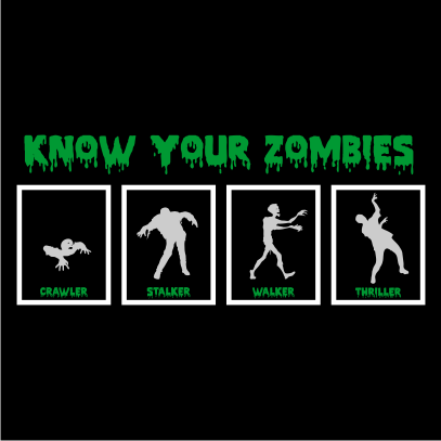 know your zombies halloween t-shirt black