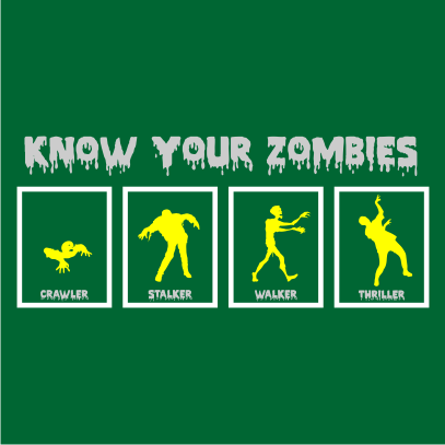 know your zombies halloween t-shirt bottle green