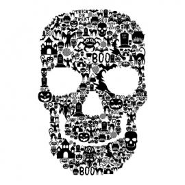 skull face halloween t-shirt white