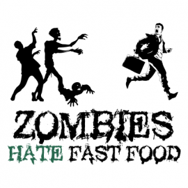 zombies hate fast food halloween t-shirt white