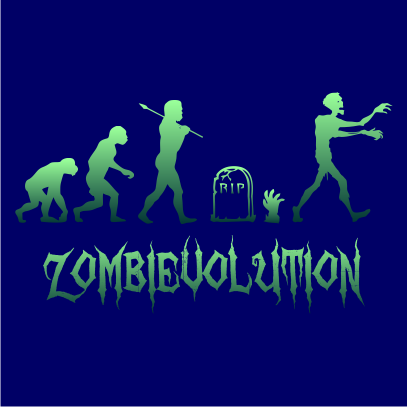 zombievolution halloween t-shirt navy