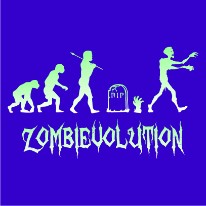 zombievolution halloween t-shirt royal blue