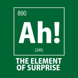 ah the element of surprise nerdy t-shirt bottle green