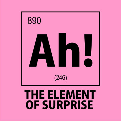 ah the element of surprise nerdy t-shirt light pink