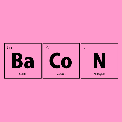 bacon elements nerdy t-shirt light pink