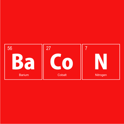 bacon elements nerdy t-shirt red