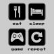 eat sleep game repeat 2 grey