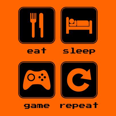 eat sleep game repeat 2 orange