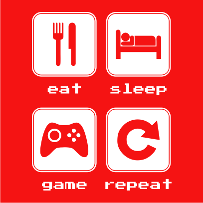 eat sleep game repeat 2 red