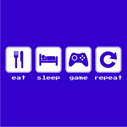 eat sleep game repeat royal blue