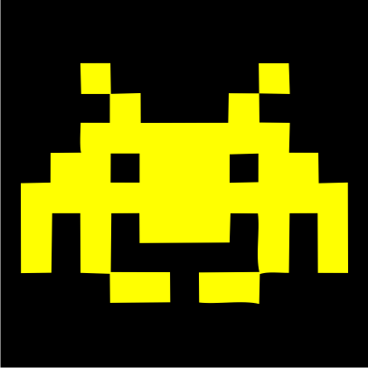 space invaders black