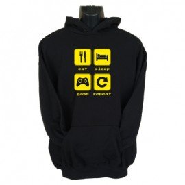 eat sleep game reapeat2 hoodie black