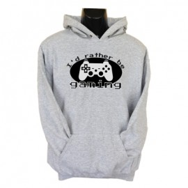 id rather be gaming hoodie grey