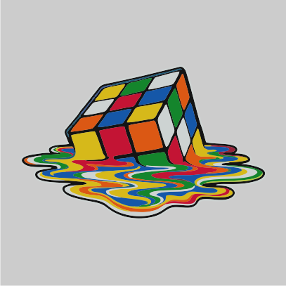 melting rubiks 2 grey