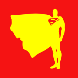 superman proud and tall red