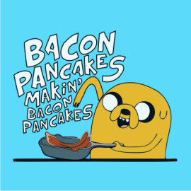 Adventure Time makin bacon pancakes sky blue