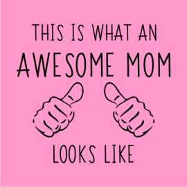 awesome mom light pink square