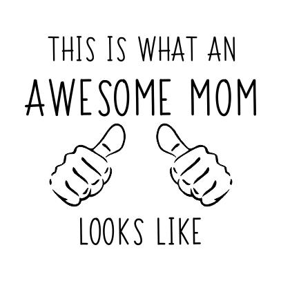 awesome mom white square
