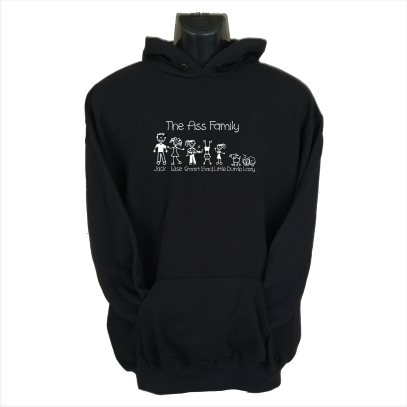 the ass family black hoodie