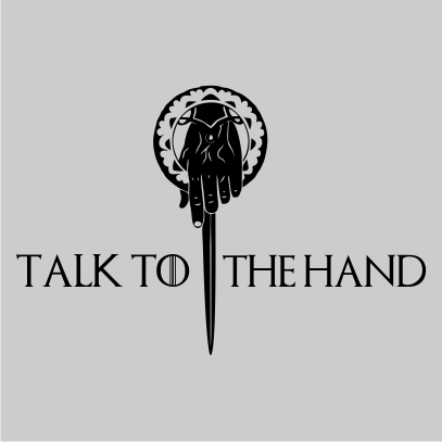 talk to the hand grey square
