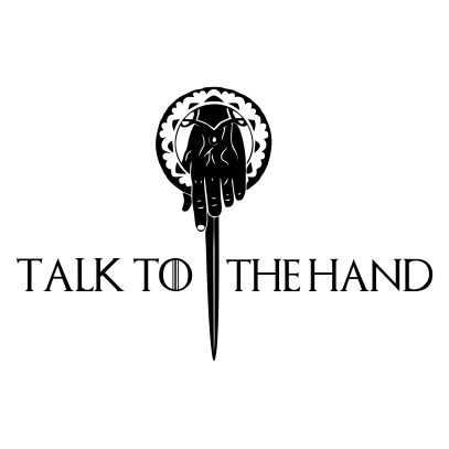 talk to the hand white square