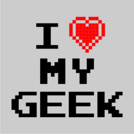 i love my geek grey t-shirt