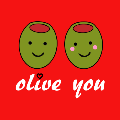 olive you red tshirt