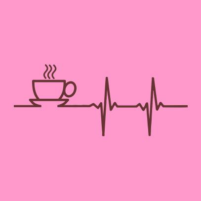 coffee heartbeat light pink