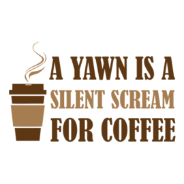 yawn for coffee white