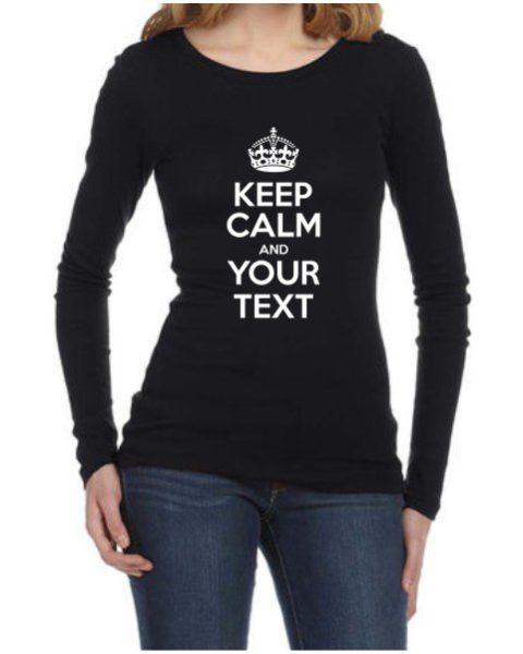 Keep Calm Ladies Black LS Shirt