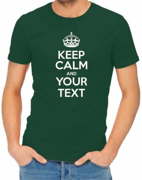 Keep Calm Mens Bottle Green Shirt