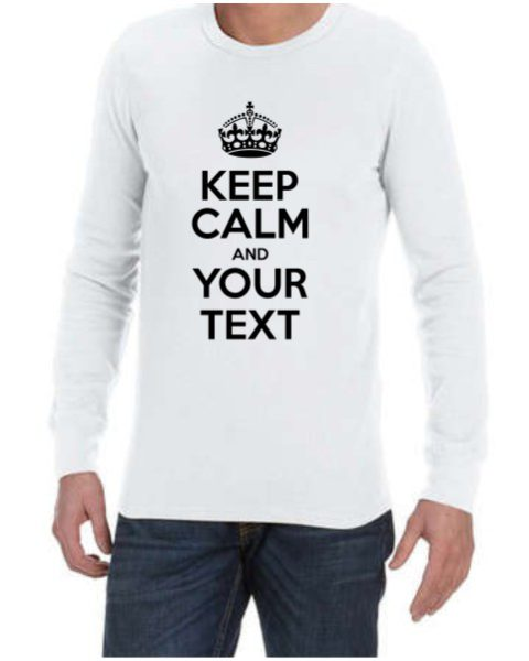 Keep Calm Mens White LS Shirt