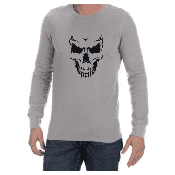 Scary Skull (Grey) long sleeve shirt
