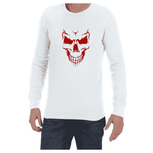 Scary Skull (White) long sleeve shirt