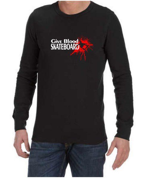 give blood skateboard mens long sleeve shirt