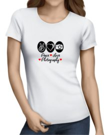 peace love photography ladies tshirt