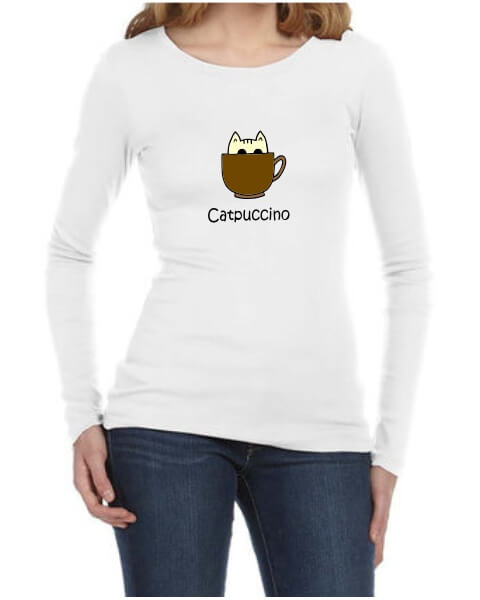 Catpuccino ladies long sleeve shirt