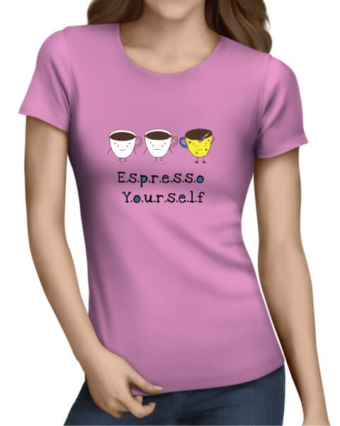 Espresso yourself ladies short sleeve shirt