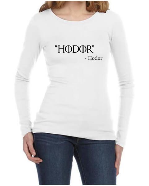 Hodor Ladies White LS Shirt