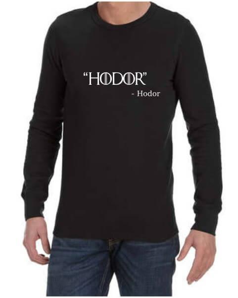 Hodor Mens Black LS Shirt