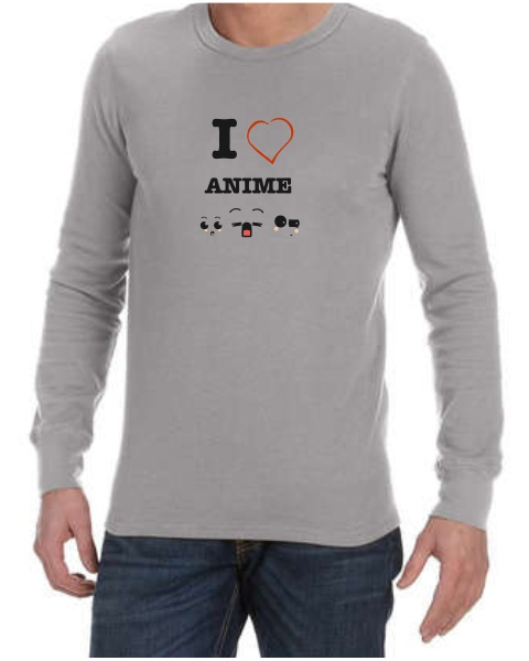 I love anime faces mens long sleeve