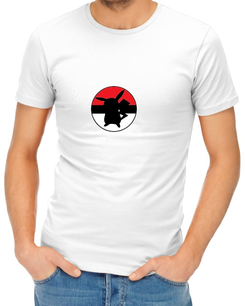 Pikachuball logo mens short sleeve shirt